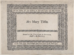 Trade Card for the Theater in Oxford