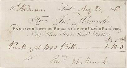Trade Card for John Hancock