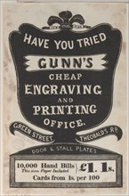 Trade Card for Gunn's Cheap Engraving and Printing Office