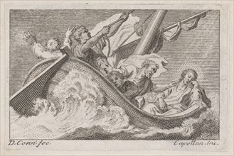 Christ on a boat with fishermen