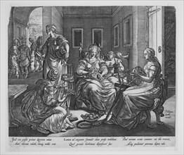Lucretia and her handmaids spinning