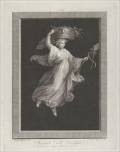 A bacchante carrying a large basket on her head and holding a staff in her le...