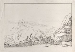 Mountainous landscape with two men in the foreground
