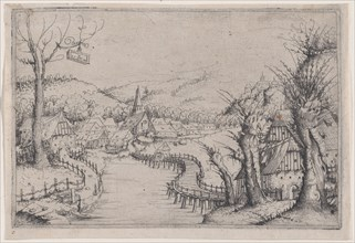River Landscape with Three Bare Willow-Trees at Right and a Long Winding Wooden Bridge at ...
