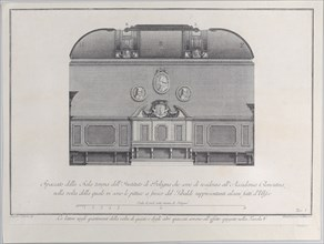 Plate 1: cross-section of the Hall of the Institute of Bologna