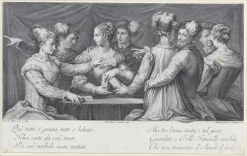 A group of elegantly dressed people playing cards