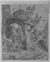 Saint Jerome seated beneath a rocky arch