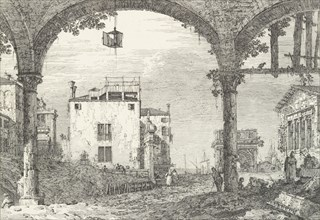 A three-arched portico with an open lantern hanging at center