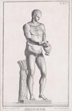 """Plate LXXV (75): Male Athlete. From """"Museum Florentinum"""" (Statuae antiquae dorum et viroru..."""