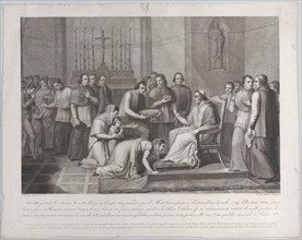 A woman kneels to kiss the foot of Pope Pius VII