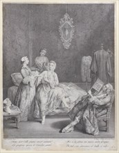 A woman getting out of bed in an elegant interior