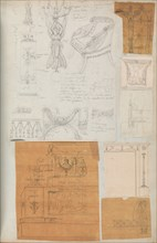 Page from a Scrapbook containing Drawings and Several Prints of Architecture