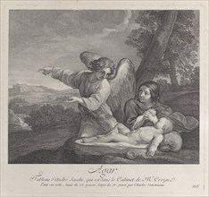 The angel appearing to Hagar in the wilderness as she folds her hands next to the sleep...
