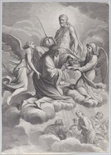 Saint Louis of France received into heaven by Christ and two angels who offer him the c...
