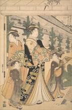 Two Oiran with Two Female Attendants in the Yoshiwara. Creator: Hosoda Eishi.