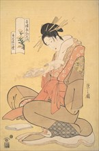 The Oiran Komurasaki of Kadotamaya Reading a Letter