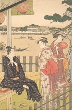 Group at a Tea-house on the Bank of the Sumida River