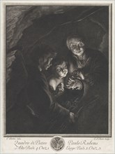 Night scene in a cave with an old woman holding burning coals in a pot