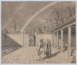 A couple conversing in a stable yard
