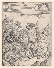 Hercules and the Hydra; wielding a torch he attacks the winged