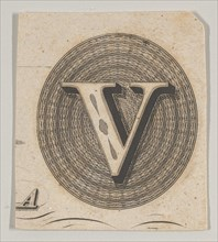 Banknote motif: capital V within an oval containing basket-like lathe work