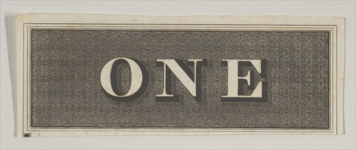 Banknote motif: the word ONE against a rectangle of ornamental basket-like lathe wo...