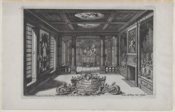 Title Plate with a Cartouche Set in a Lavish Interior