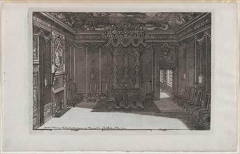 Interior with a Canopy Bed and a Row of Chairs Lining the Walls