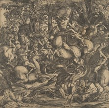 Group of naked men engaged in battle in a wooded landscape