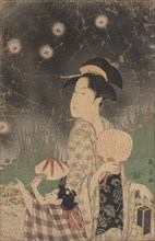 Woman and Child Catching Fireflies