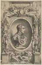 Portrait of Giovanni de' Medici facing right within an elaborate cartouche flanked by Vict...