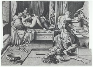 Venus and Mars Embracing as Vulcan Works at His Forge