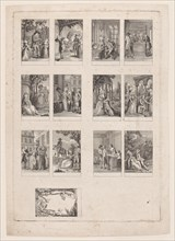 Sheet of 13 subjects for an Almanac