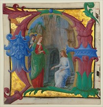 Manuscript Illumination with the Holy Women at the Tomb in an Initial A...
