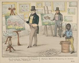 """Vive la France, Marchands de """"Tableaux"""" se Preparant pour la Vente Publique / Picture """"Dealers"""" Preparing for """"Auction"""", 1840."""