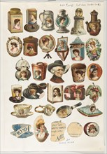 Thirty-one cut-outs from advertising banner for Allen & Ginter Cigarettes, ca. 1888.