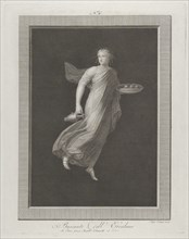 A bacchante holding a pitcher in her right hand and carrying in her left hand an oval dish containing three figs, set against a black background inside a rectangular frame, 1795-1820. Baccante dell'Er...