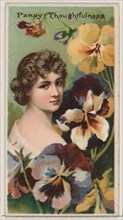 Pansy: Thoughtfulness, from the series Floral Beauties and Language of Flowers (N75) for Duke brand cigarettes, 1892.