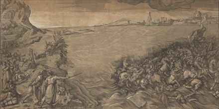 The crossing of the red sea, Moses stands at the left pointing to the army being submerged, after Titian, 1589.