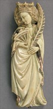 Plaque with Saint Catherine of Alexandria, French, ca. 1400.