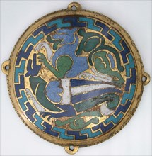 Combat Between Dragon and Dog (one of five medallions from a coffret), French, ca. 1110-30.