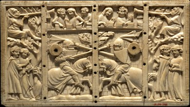 Plaque from a Casket with Jousting Scenes, French, ca. 1320-40.