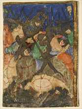 Manuscript Cutting Showing a Scene from Hebrew Scripture, Perhaps the Life of King David (?), French, ca. 1400.