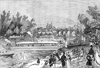 Swan-Upping on the Thames, from Brentford Ait, 1844. Creator: Unknown.