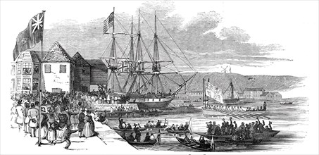 Her Majesty landing at Cowes, Isle of Wight, 1844. Creator: Unknown.