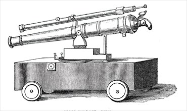 Novel experiments in warfare - non-recoil gun, 1844. Creator: Unknown.