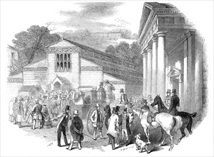 Exterior of the Pavilion, Royal Agricultural Society's Show, Shrewsbury, 1845. Creator: Smyth.