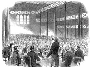 Dinner in the Pavilion, Royal Agricultural Society's Show, Shrewsbury, 1845. Creator: Unknown.