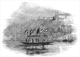 The Queen crossing the Maine, at Langfort, Bavaria, 1845. Creator: Unknown.