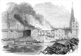 Conflagration at Sir C. Price's Wharf, Blackfriars, 1845. Creator: Unknown.